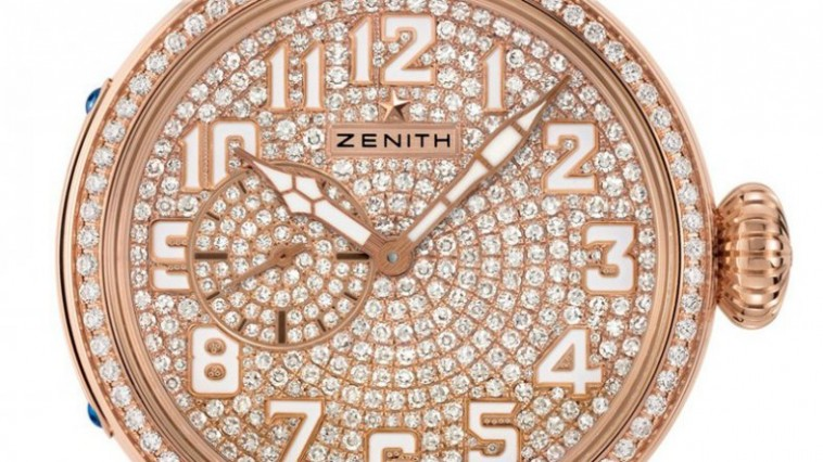 The Road to Diamonds Rose Gold Zenith Montre d'aéronef Type 20 Ladies Replica Watch